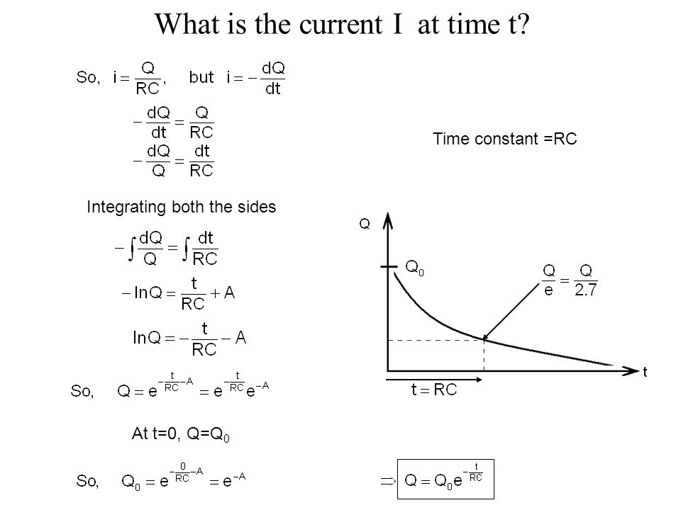 What is the current I at time t