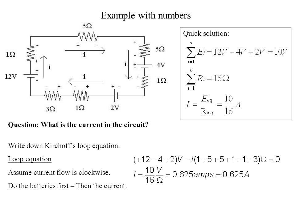 Example with numbers Quick solution: