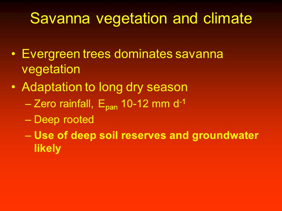 Savanna vegetation and climate