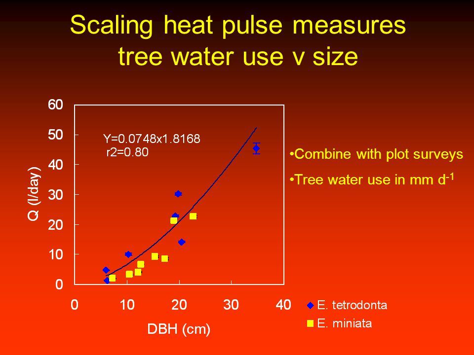 Scaling heat pulse measures tree water use v size