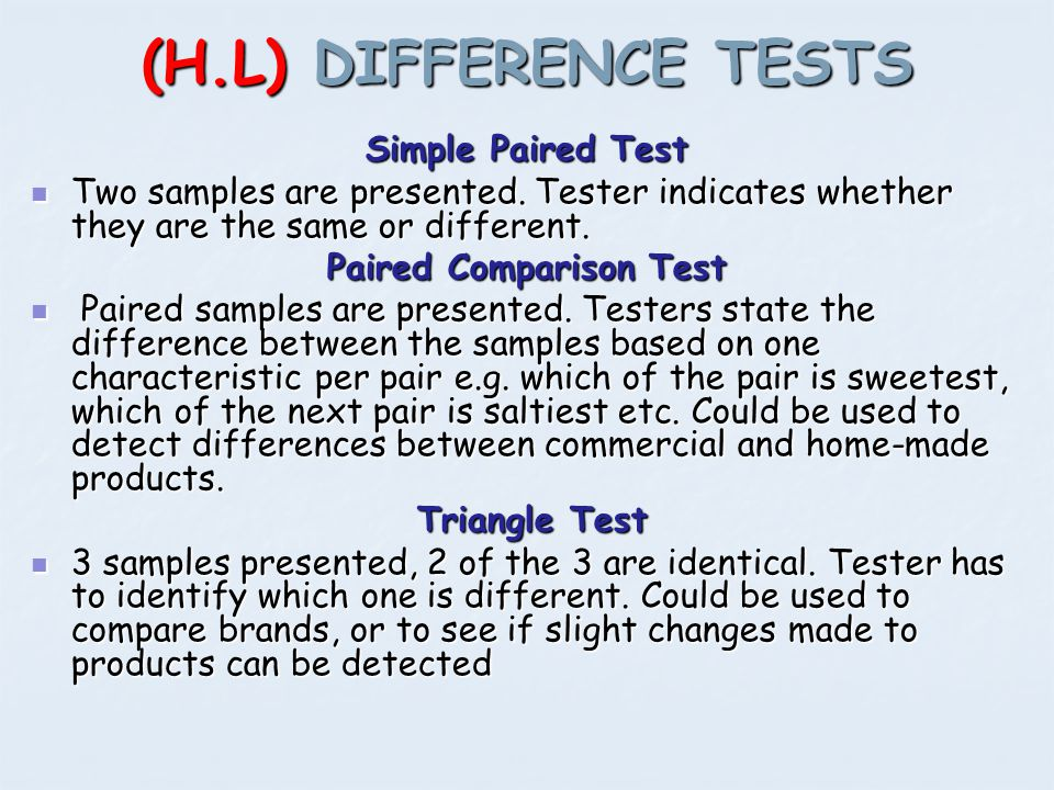 Paired Comparison Test