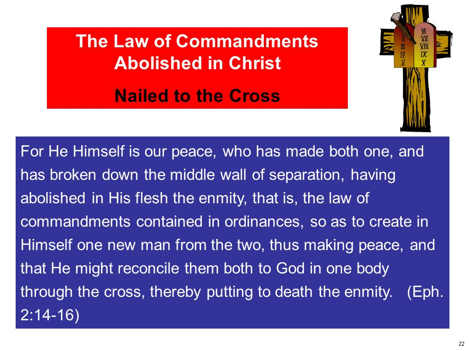 The Law of Commandments Abolished in Christ