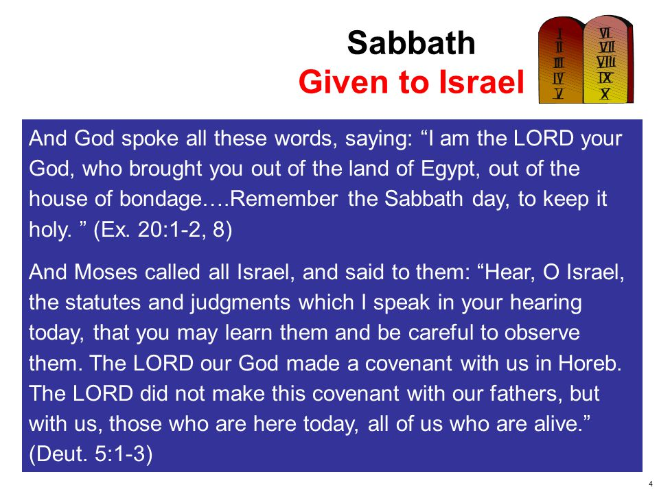 Sabbath Given to Israel