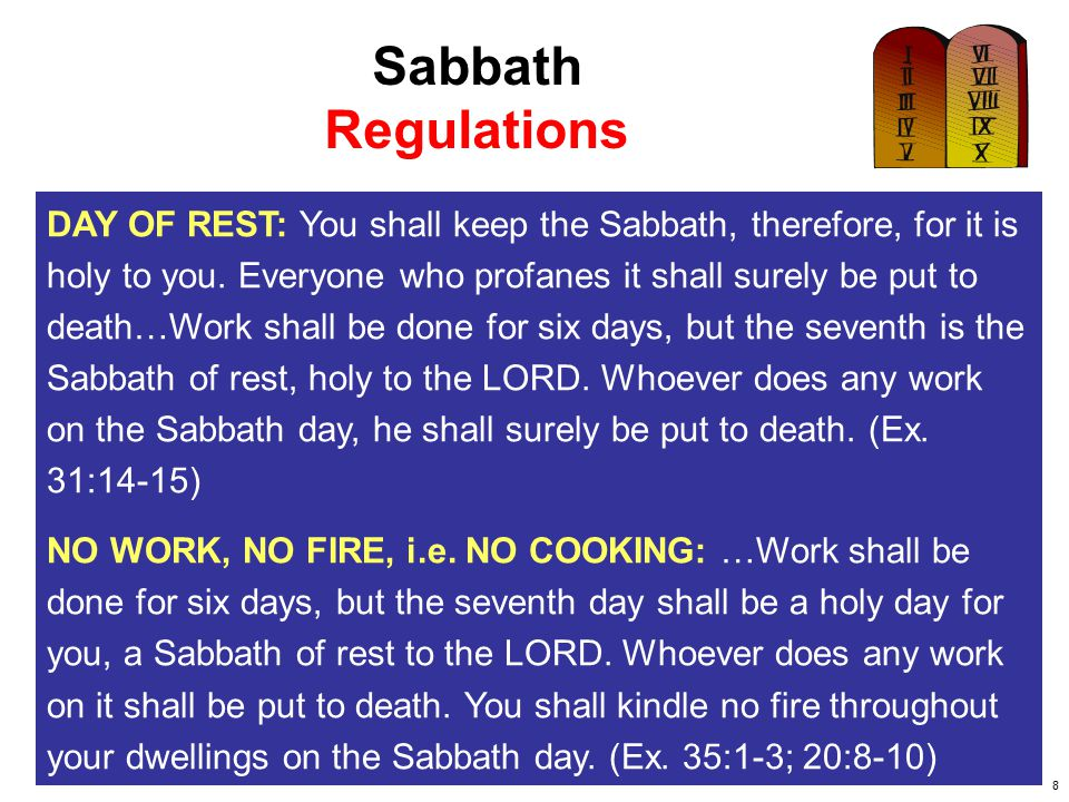 Sabbath Regulations.