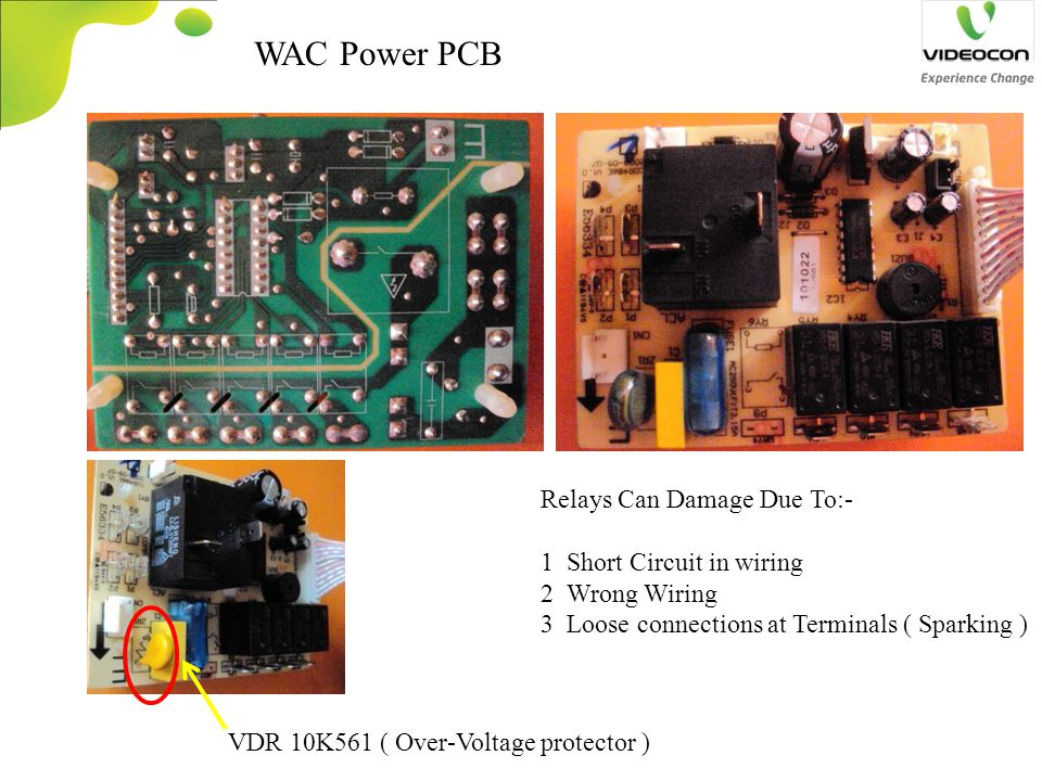 WAC Power PCB Relays Can Damage Due To:- 1 Short Circuit in wiring