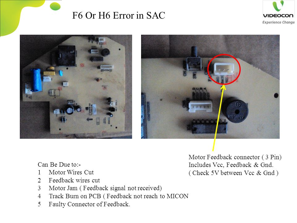 F6 Or H6 Error in SAC Motor Feedback connector ( 3 Pin)