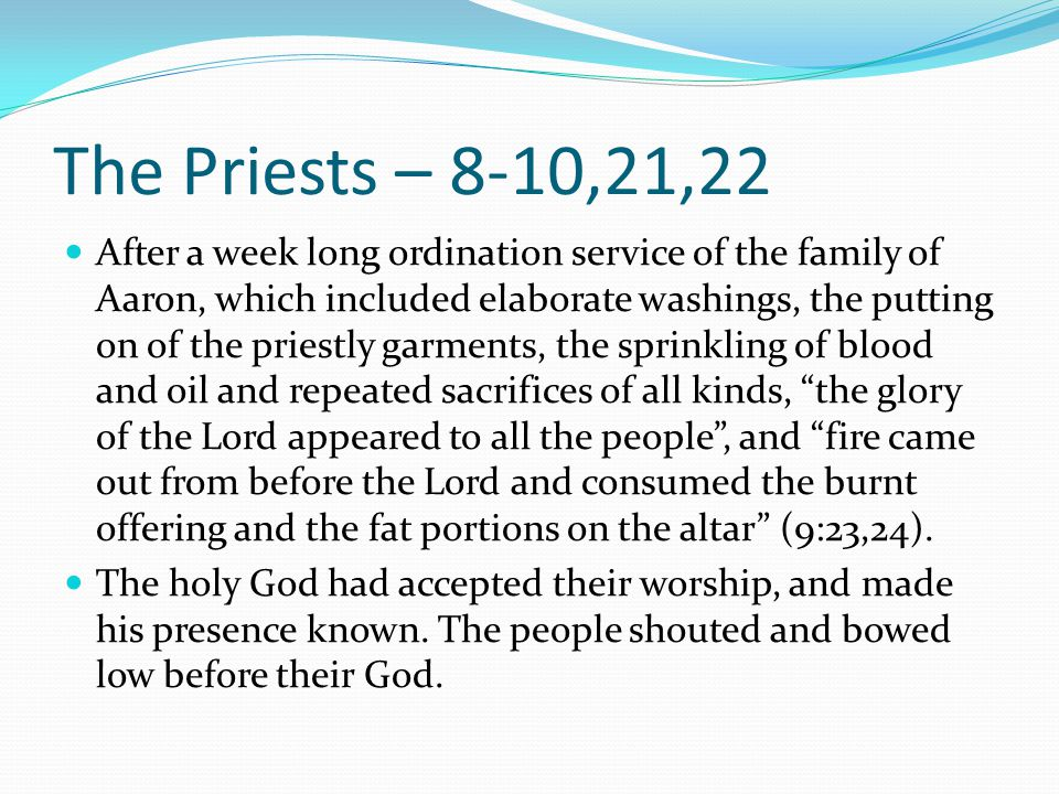 The Priests – 8-10,21,22