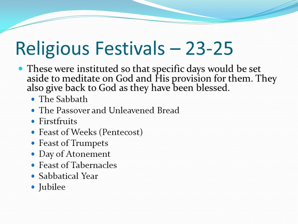 Religious Festivals – 23-25