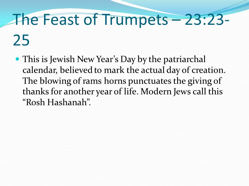 The Feast of Trumpets – 23:23-25