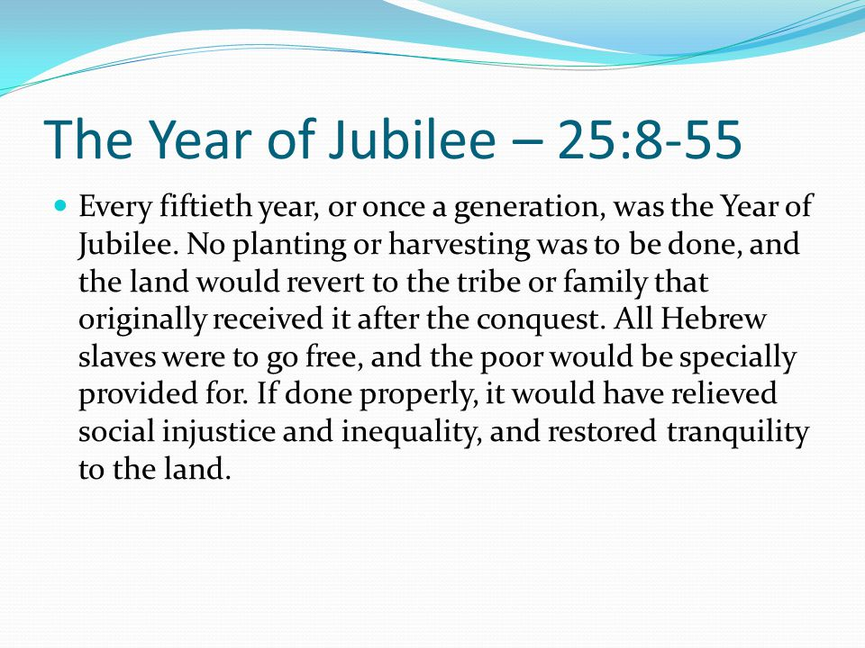 The Year of Jubilee – 25:8-55