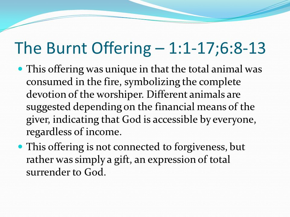 The Burnt Offering – 1:1-17;6:8-13