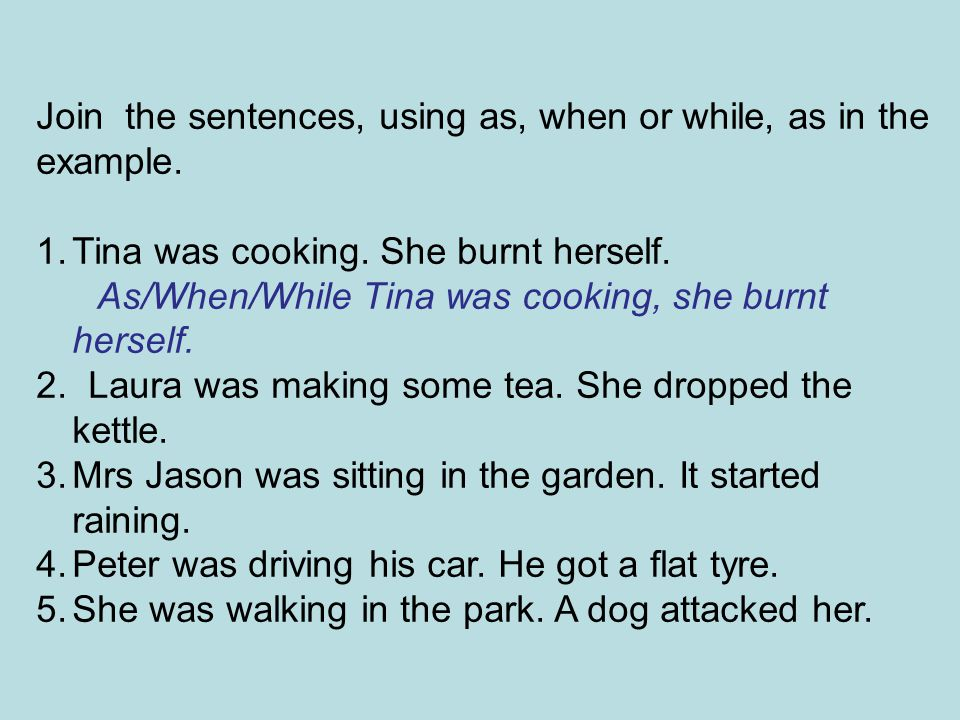Join the sentences, using as, when or while, as in the example.