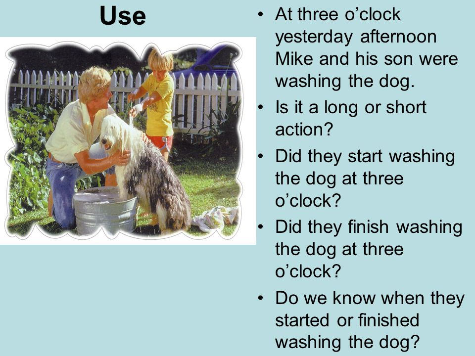 Use At three o'clock yesterday afternoon Mike and his son were washing the dog. Is it a long or short action