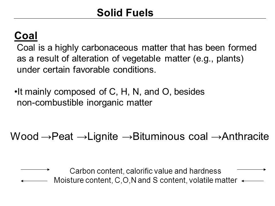 Wood →Peat →Lignite →Bituminous coal →Anthracite