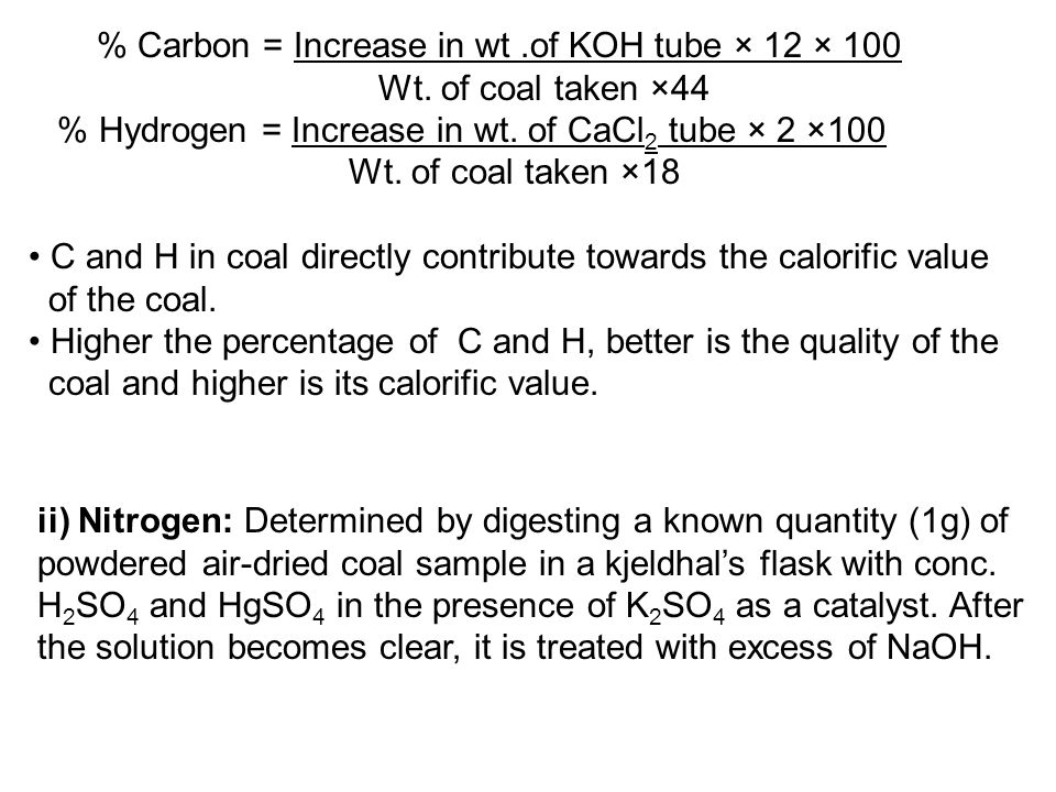 % Carbon = Increase in wt .of KOH tube × 12 × 100