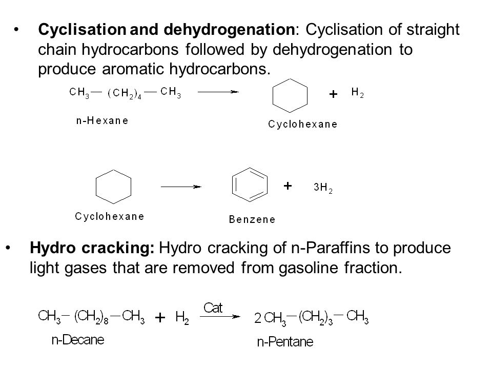 Cyclisation and dehydrogenation: Cyclisation of straight chain hydrocarbons followed by dehydrogenation to produce aromatic hydrocarbons.