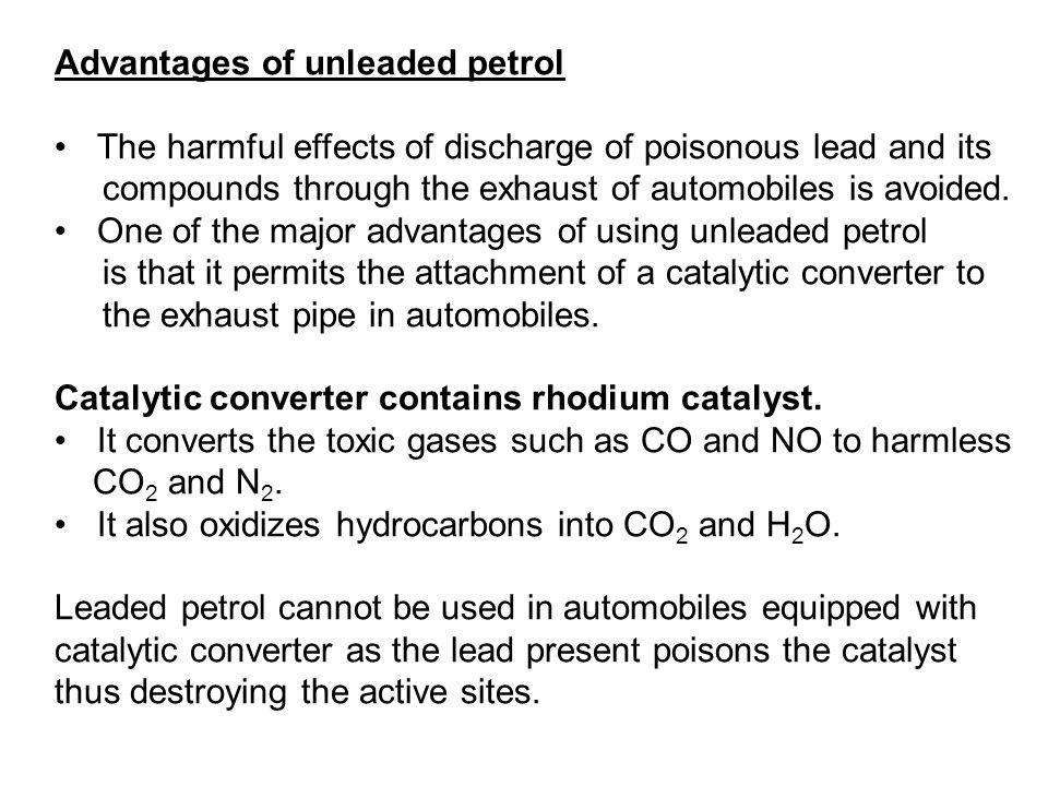 Advantages of unleaded petrol
