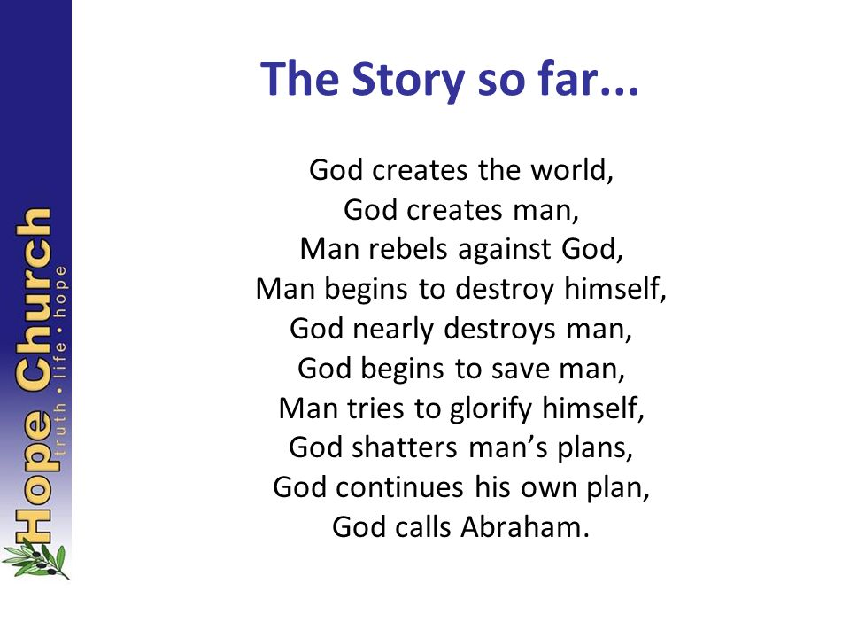 The Story so far... God creates the world, God creates man,