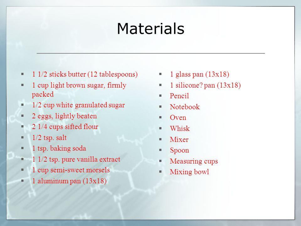 Materials 1 1/2 sticks butter (12 tablespoons)