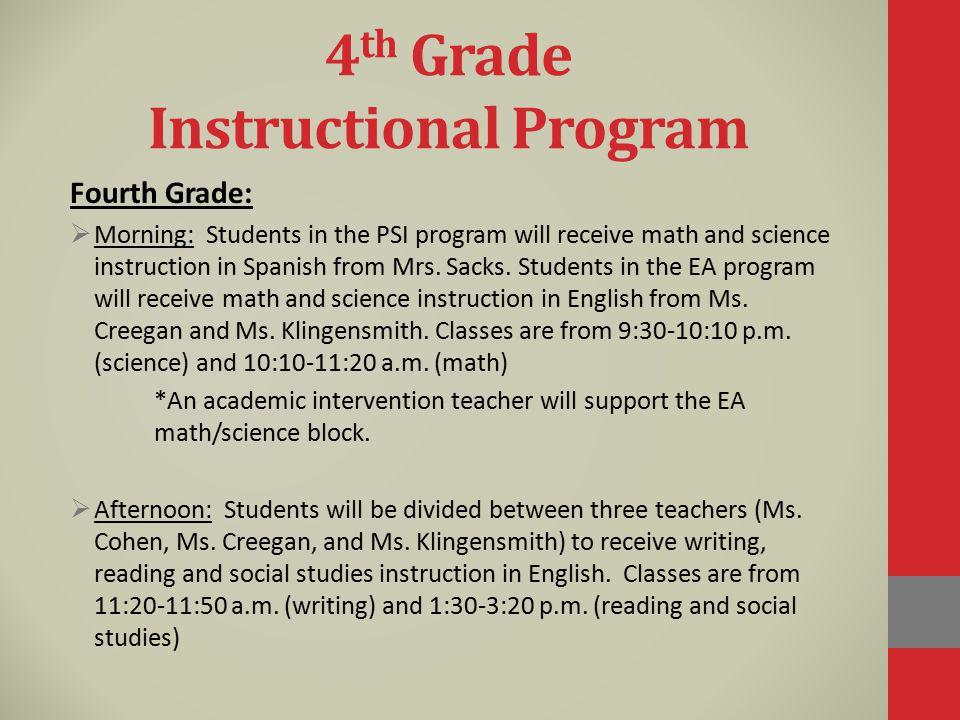4th Grade Instructional Program