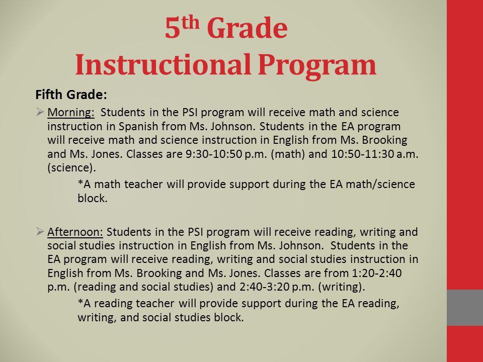 5th Grade Instructional Program