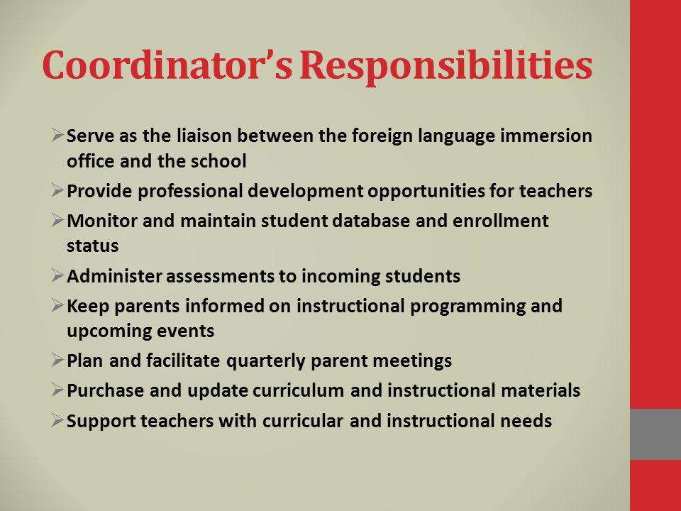 Coordinator's Responsibilities
