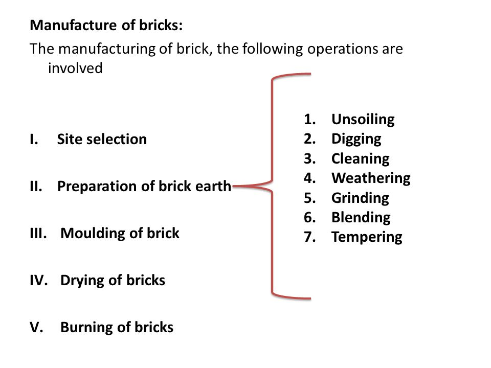 Manufacture of bricks: