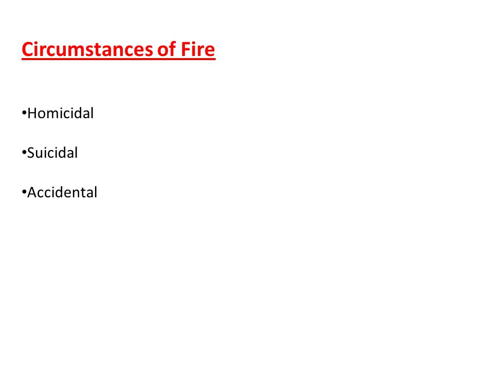 Circumstances of Fire Homicidal Suicidal Accidental