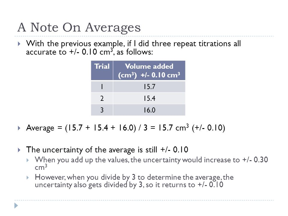 A Note On Averages With the previous example, if I did three repeat titrations all accurate to +/- 0.10 cm3, as follows: