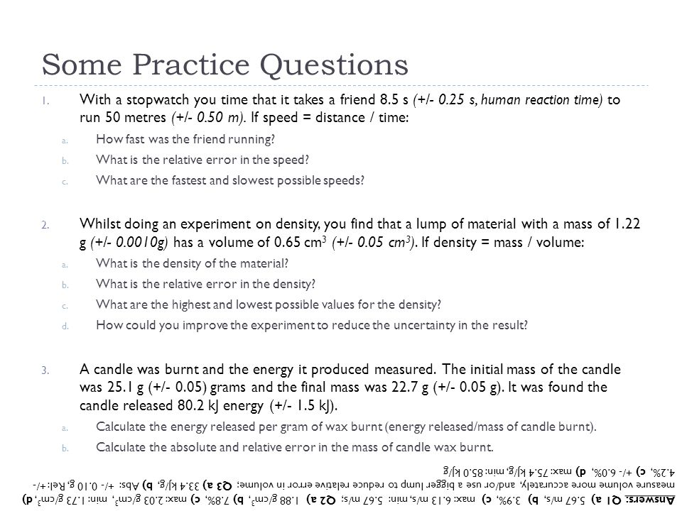 Some Practice Questions
