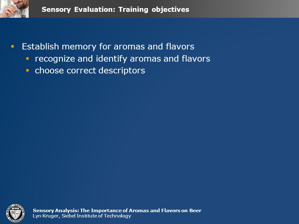 Sensory Evaluation: Training objectives
