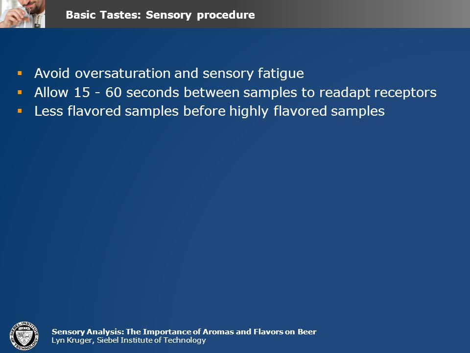 Basic Tastes: Sensory procedure