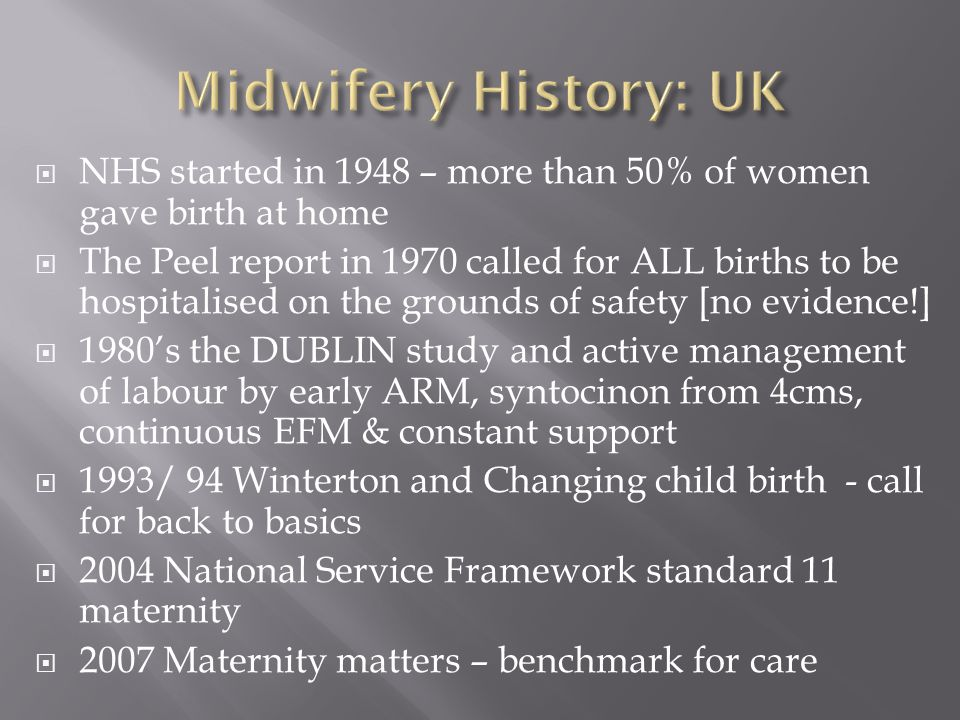 Midwifery History: UK NHS started in 1948 – more than 50% of women gave birth at home.