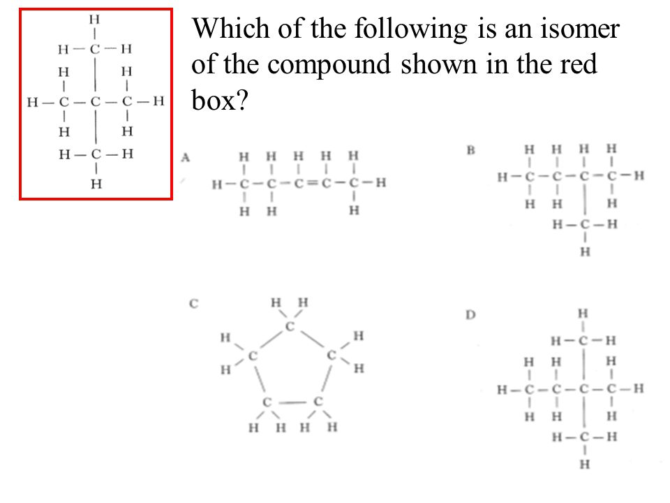 Which of the following is an isomer of the compound shown in the red box