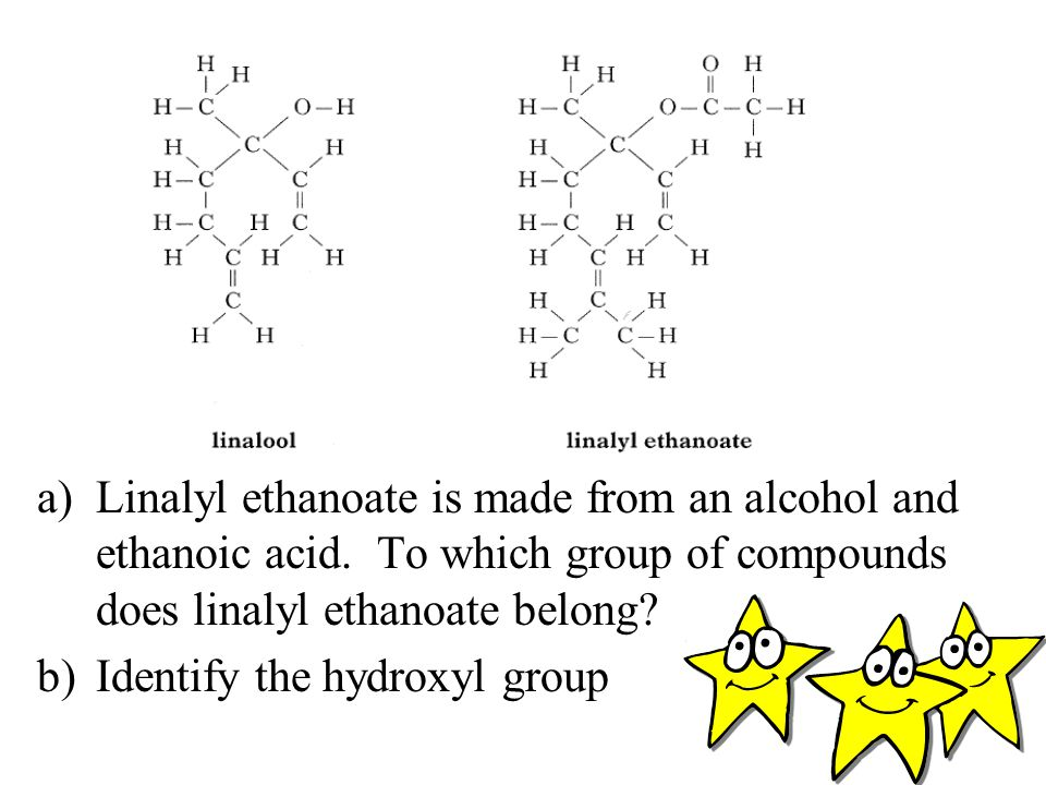 Linalyl ethanoate is made from an alcohol and ethanoic acid