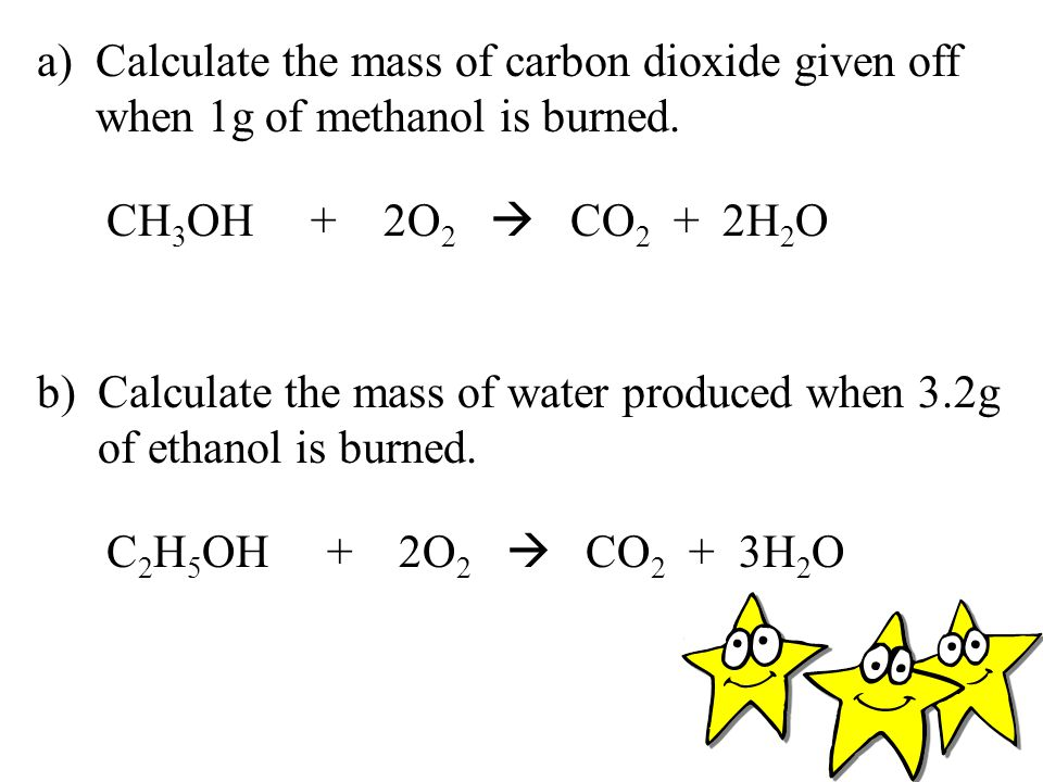Calculate the mass of carbon dioxide given off when 1g of methanol is burned.