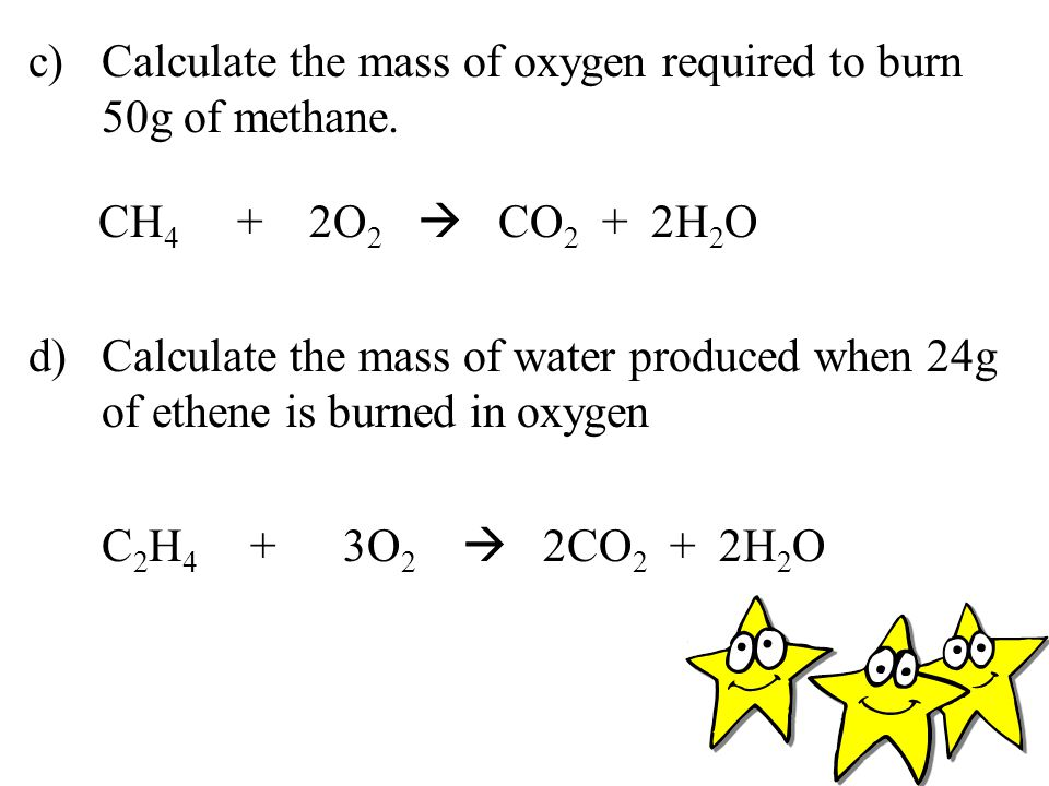 c) Calculate the mass of oxygen required to burn 50g of methane.