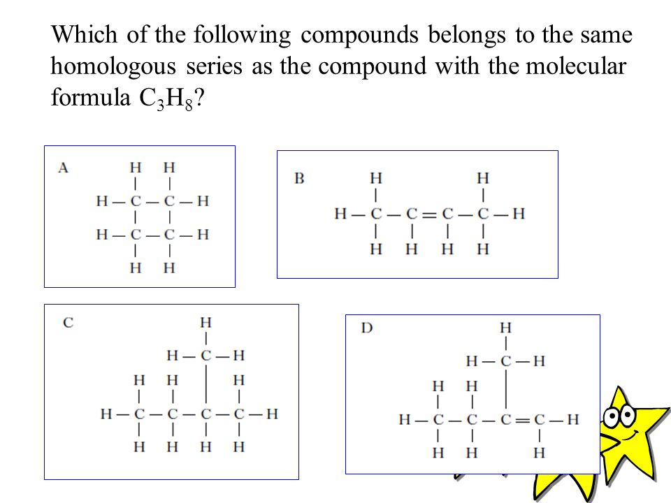 Which of the following compounds belongs to the same homologous series as the compound with the molecular formula C3H8