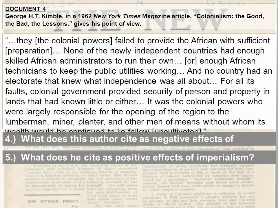 4.) What does this author cite as negative effects of imperialism