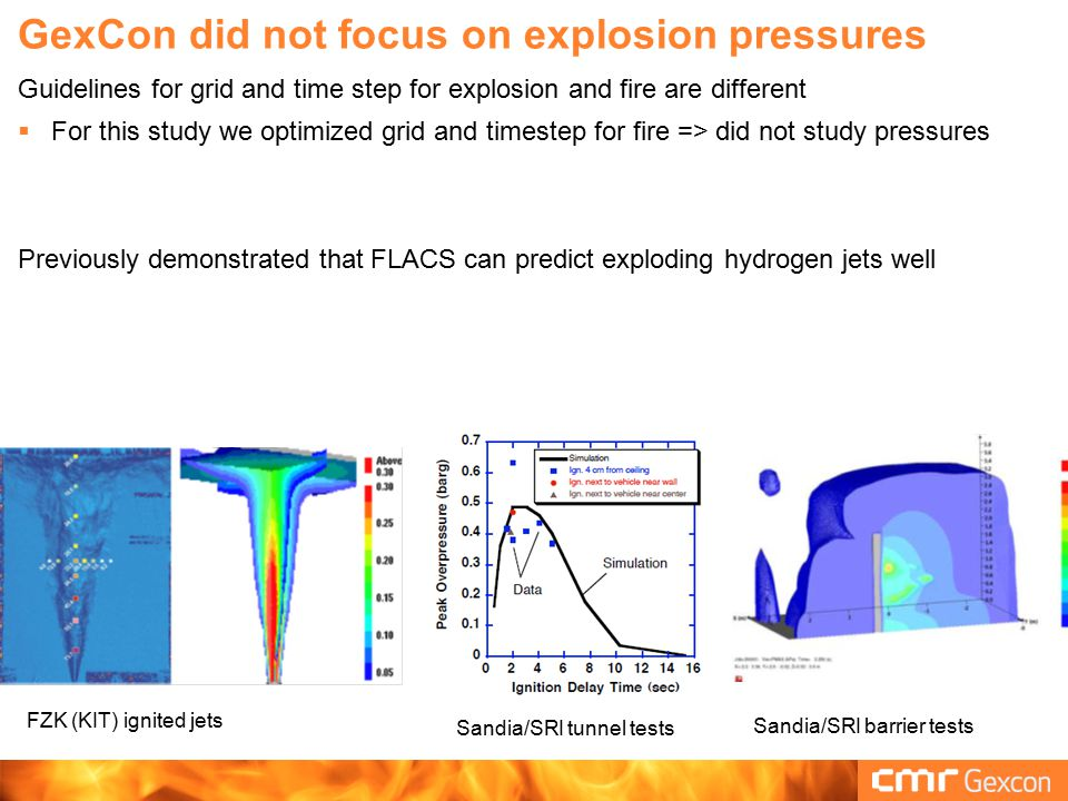 GexCon did not focus on explosion pressures