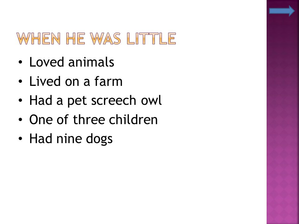 When He Was Little Loved animals Lived on a farm Had a pet screech owl