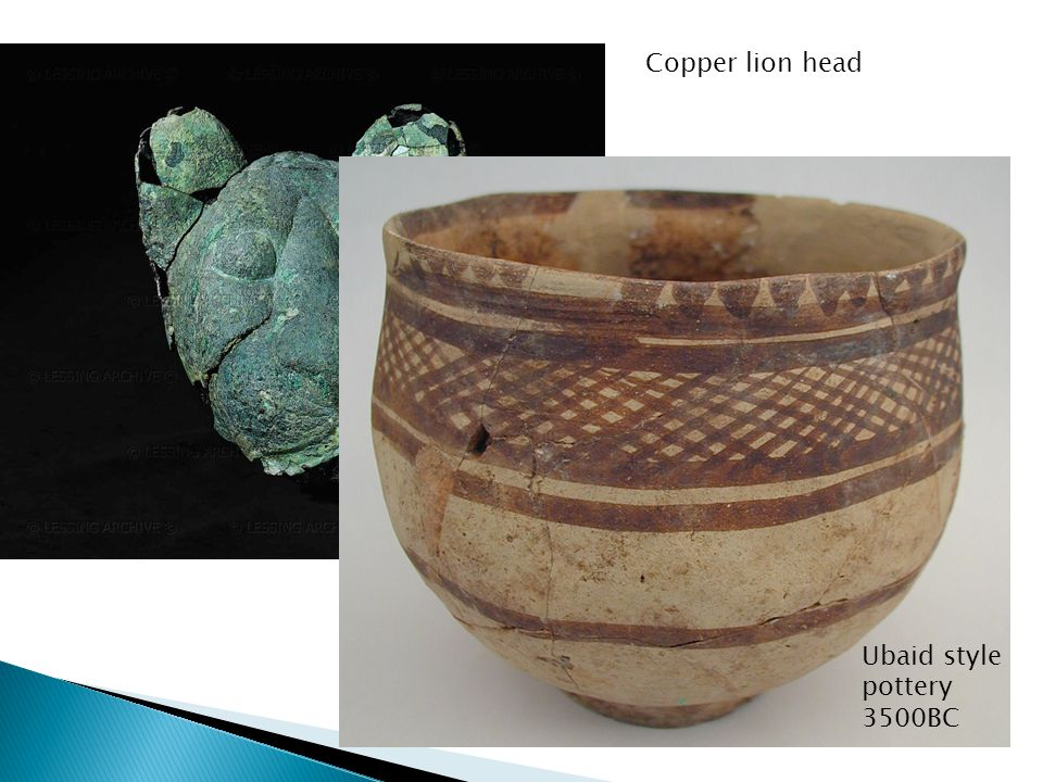 Copper lion head Ubaid style pottery 3500BC
