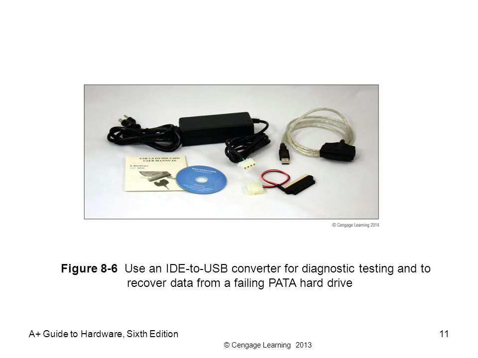 Figure 8-6 Use an IDE-to-USB converter for diagnostic testing and to