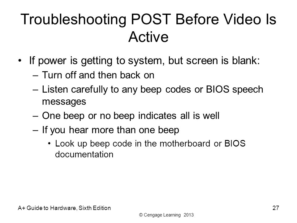 Troubleshooting POST Before Video Is Active