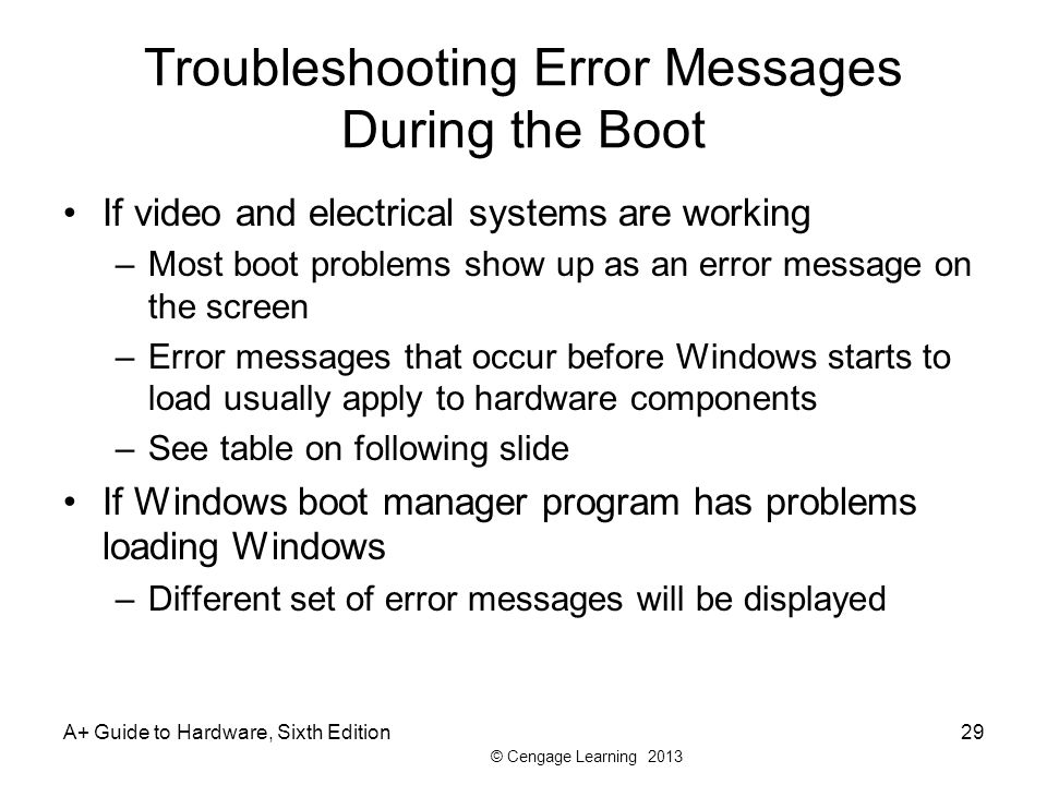 Troubleshooting Error Messages During the Boot