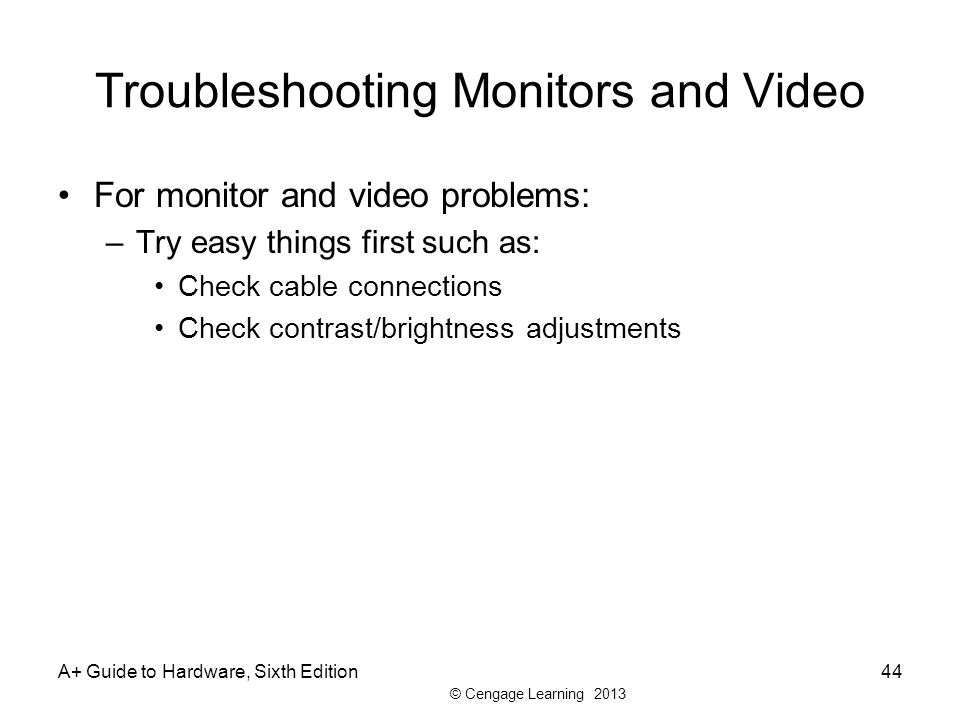 Troubleshooting Monitors and Video