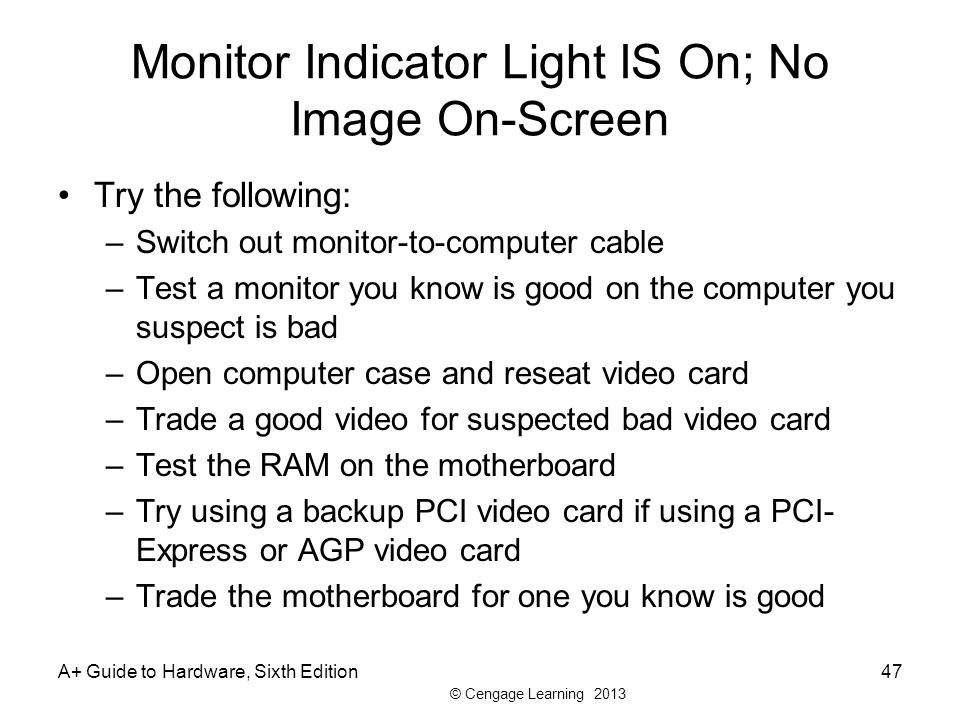 Monitor Indicator Light IS On; No Image On-Screen