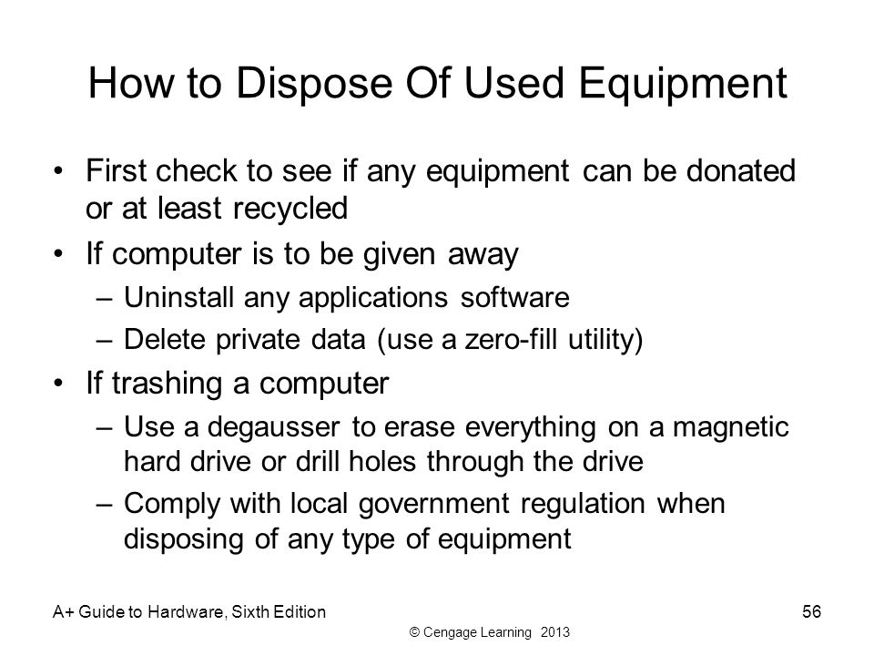 How to Dispose Of Used Equipment