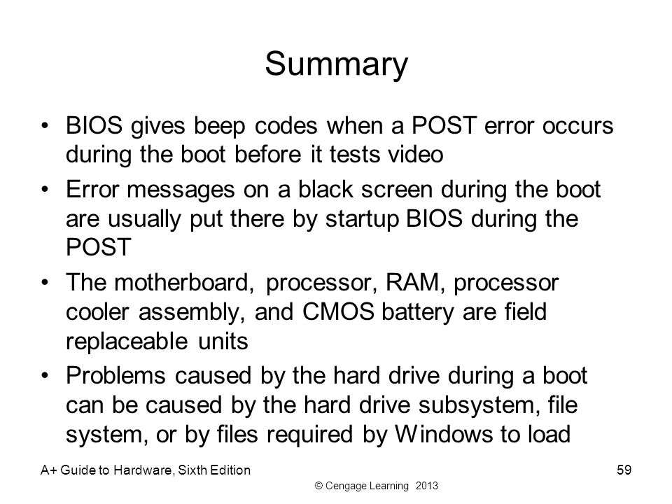 Summary BIOS gives beep codes when a POST error occurs during the boot before it tests video.