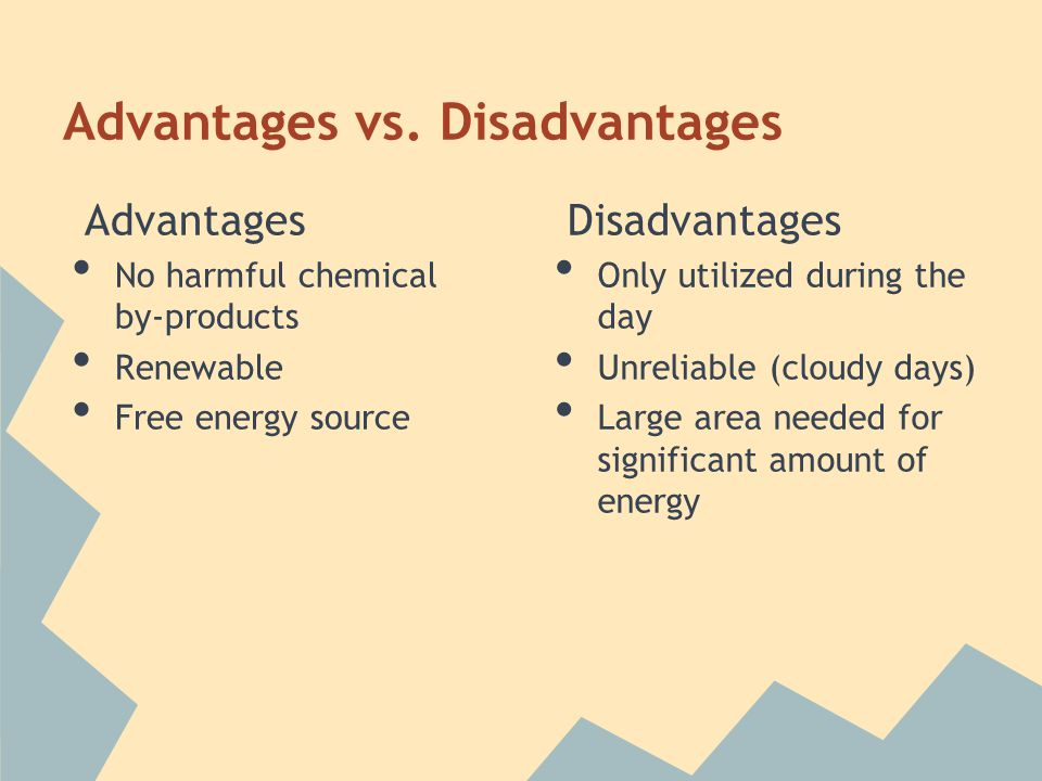 Advantages vs. Disadvantages